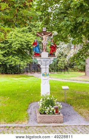 Old Painted Crucifix To Remember A Dead Priest Near Trittenheim, Mosel, Germany