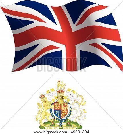 Brasão e bandeira ondulada de Reino Unido