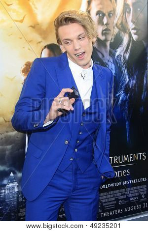 LOS ANGELES - AUG 12: Jamie Campbell Bower at the premiere of 'The Mortal Instruments: City of Bones' at ArcLight Cinemas Cinerama Dome on August 12, 2013 in Hollywood, CA