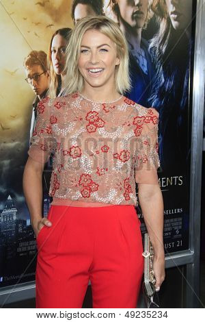 LOS ANGELES - AUG 12: Julianne Hough at the premiere of Screen Gems & Constantin Films' 'The Mortal Instruments: City of Bones' at ArcLight Cinemas Cinerama Dome on August 12, 2013 in Hollywood, CA