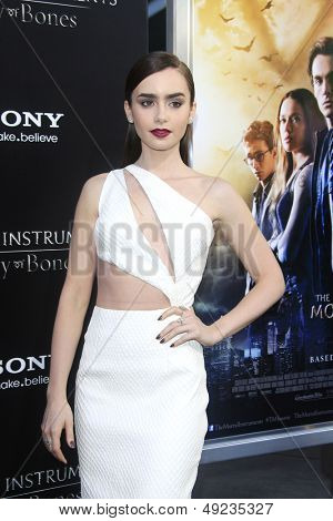 LOS ANGELES - AUG 12: Lily Collins at the premiere of Screen Gems & Constantin Films' 'The Mortal Instruments: City of Bones' at ArcLight Cinemas Cinerama Dome on August 12, 2013 in Hollywood, CA