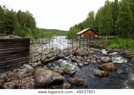 ancient fishing camp and stone constructions