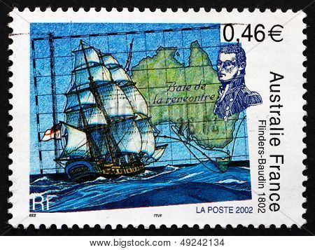 Postage Stamp France 2002 Map Of Australia And Ship