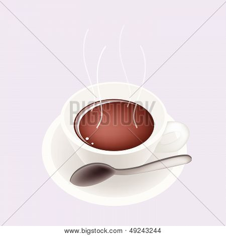 A Smoking Hot Coffee On Purple Background