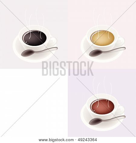 Three Kind Of Coffee In Ceramic Cup With Copy Space