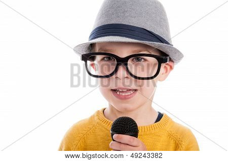Geeky Boy With Microphone