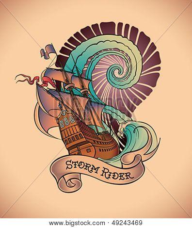 Antiga estilo tatuagem de um galeão no fundo de um redemoinho de água grande. Vetoriais editáveis illu