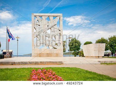 War memorial on seaside square. Rovinj ,Croatia.