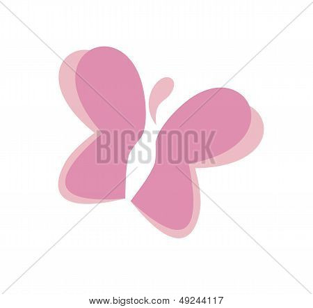 Pink butterfly with woman body- vctor icon