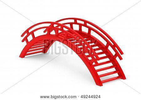 Closeup 3D Red Wooden Bridge