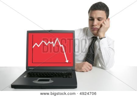 Businessman With Laptop Computer, Bad News