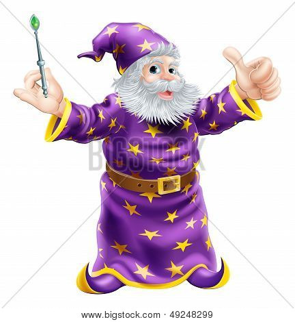Cartoon Wizard With Wand