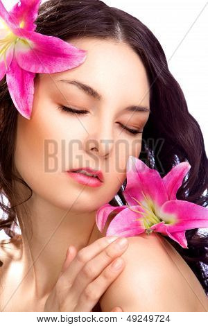 cute beauty woman with vibrant flower isolated