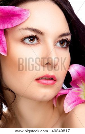 beauty woman with vibrant flower
