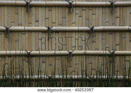 Japan Himeji Himeji Koko-en Gardens split bamboo wall close-up