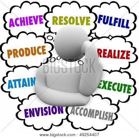 The words Achieve, Accomplish, Attain, Produce, Resolve, Fulfill, Realize and Execute in thought clouds around a thinker wondering about new opportunities for success in life or career