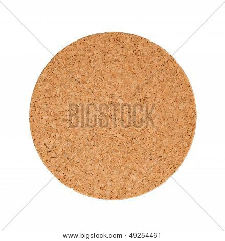 Circular Cork Trivet Isolated