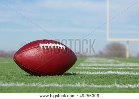 Pro American Football on the Field Close Up with the Goal Posts beyond