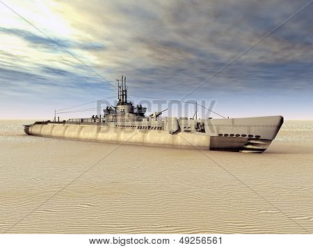 Submarine USS Trigger on Dry
