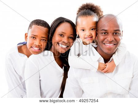 Happy family portrait - isolated over a white background