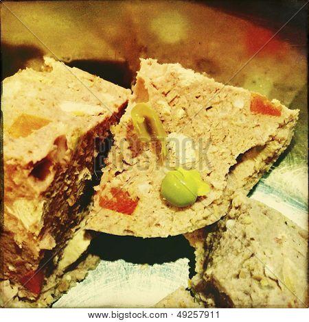 Closeup of chunky dog food meat