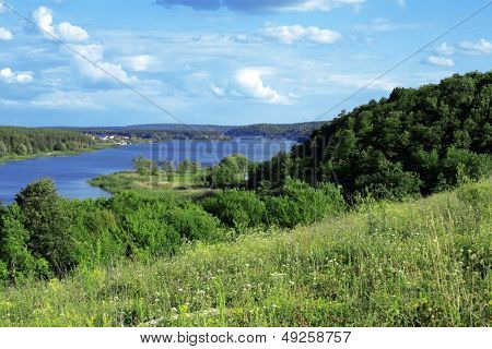 green vegetation and the blue river in summer day