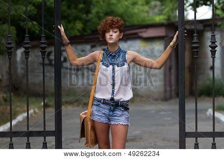 Teen Hipster Girl Posing Outdoors