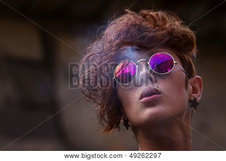 Cool Young Girl Smoking Tobacco