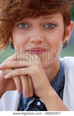 Portrait Of Hipster Girl With Lip Ring