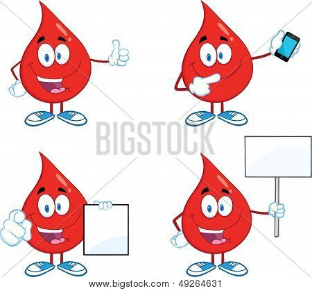 Blood Drop Cartoon Characters. Set Collection 5