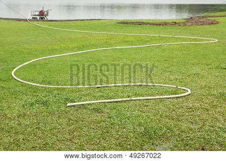 Watering green grass