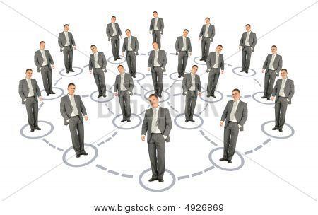 Businessman Cooperation System Scheme Collage