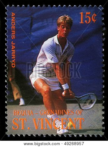 BEQUIA - CIRCA 1988: A stamp printed in Grenadines of St. Vincent shows Tennis Players Anders Jarryd, circa 1988