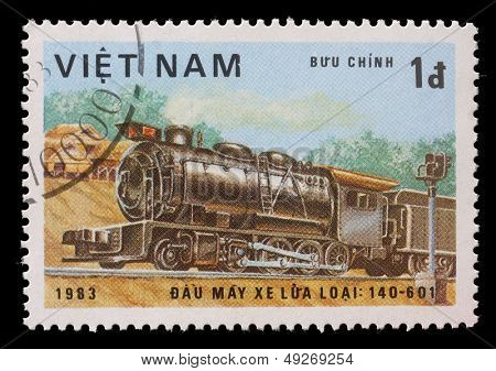 VIETNAM-CIRCA 1983: A stamp printed in the Vietnam, shows steam locomotive, Class 140-601, circa 1983