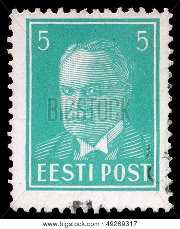 ESTONIA - CIRCA 1936: A stamp printed in Estonia shows first president Konstantin Pats, circa 1936