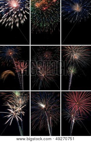 Vertical Fireworks Collage