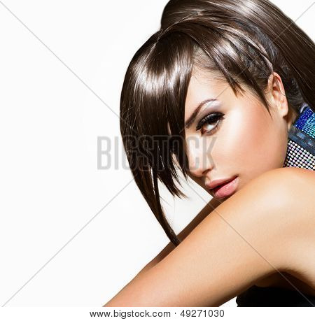 Fashion Beauty Girl. Gorgeous Woman Portrait. Stylish Fringe, Haircut and Makeup. Hairstyle. Make up. Vogue Style. Sexy Glamour Girl