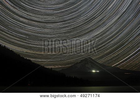 Star Trails Over Mount Hood