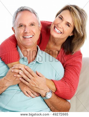 Senior couple portrait. Isolated on white background.