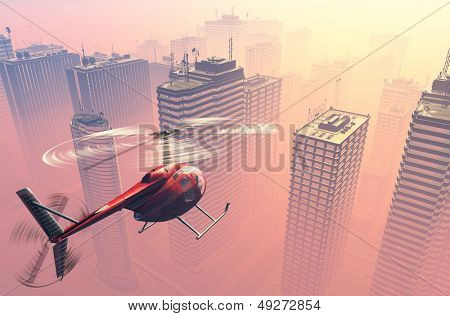 Civilian helicopter  on a background a city