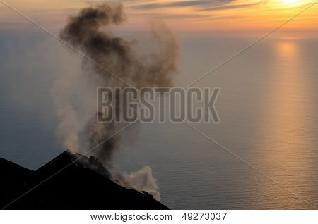 Smoking Volcano On Stromboli Island, Lipari, Sicily