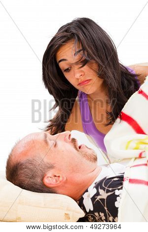 Snoring Man And Disturbed Wife