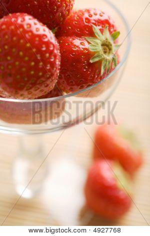 Ripe Strawberries In Glass Bowl