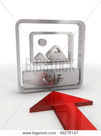3D Render Of A Decorative Gif File Icon With Red Arrow