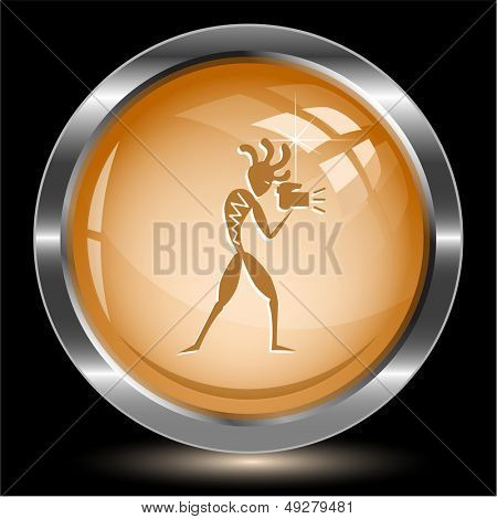 Ethnic little man with camera. Internet button. Vector illustration.