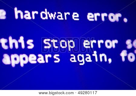 Blue screen of death, computer error crash