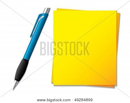Sticky Note With Ballpen