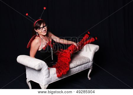 Woman dressed as a lady bug
