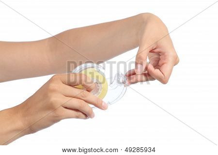 Woman Hand Holding And Using Adhesive Tape