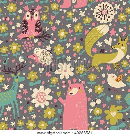 Forest animals � funny cartoon seamless pattern with Deer, Bear, Fox, Hedgehog and owl in vector. Seamless pattern can be used for wallpapers, pattern fills, web page backgrounds,surface textures